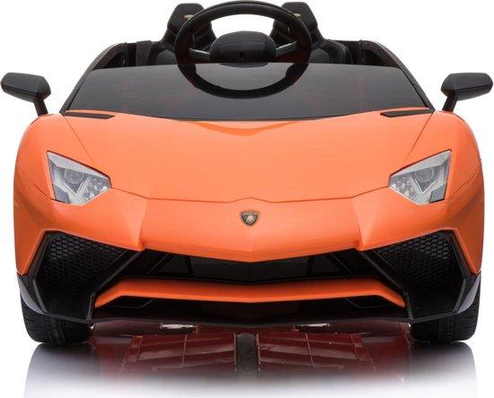 Lamborghini Aventador SV Roadster oranje elektrische kinderauto 550x444