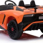 Lamborghini Aventador SV Roadster oranje elektrische kinderauto achterkant 550x444