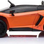 Lamborghini Aventador SV Roadster oranje elektrische kinderauto zijkant 550x444