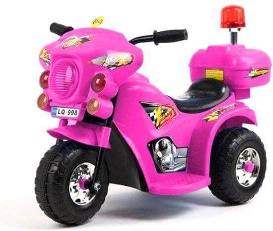 Roze elektrische politiemotor kinder motor tot 4 jaar zijkant transparant 550x526
